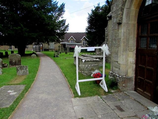 Confetti frame at the village church entrance, English Bicknor