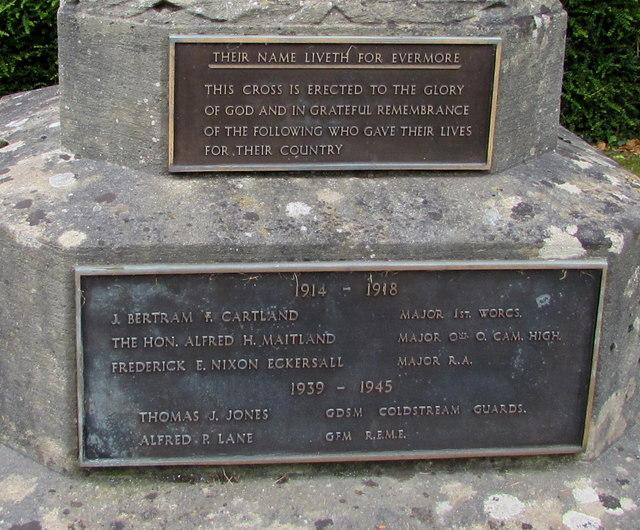 Ashchurch War Memorial plaques