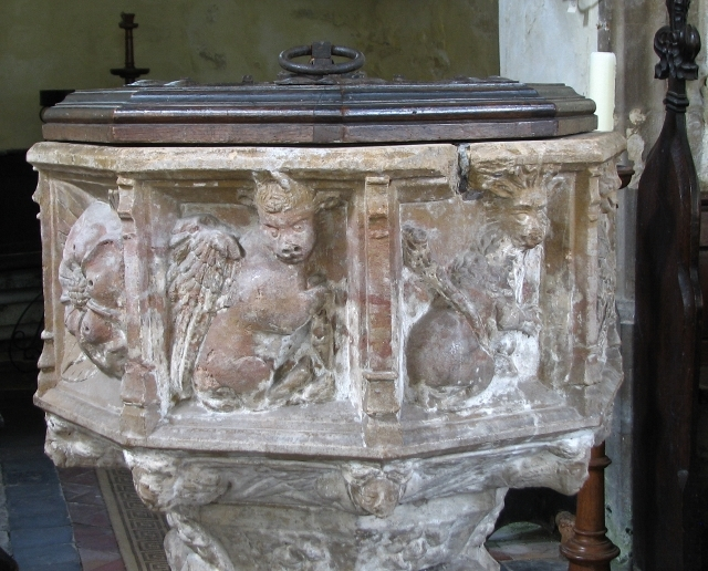 All Saints church, Poringland - C15 font