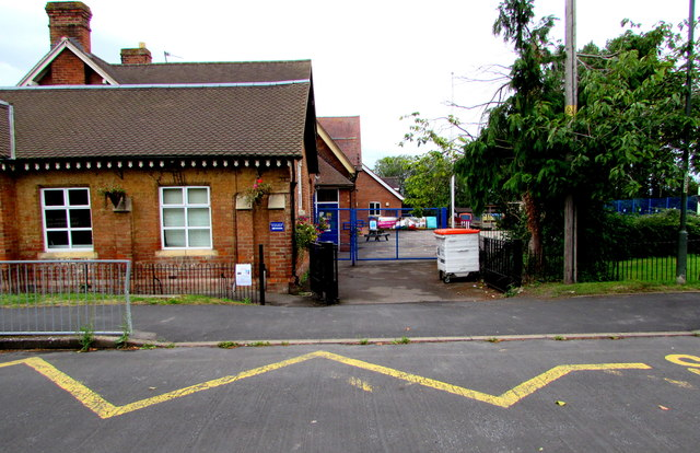 Zigzag road markings outside Ashchurch Primary School, Ashchurch