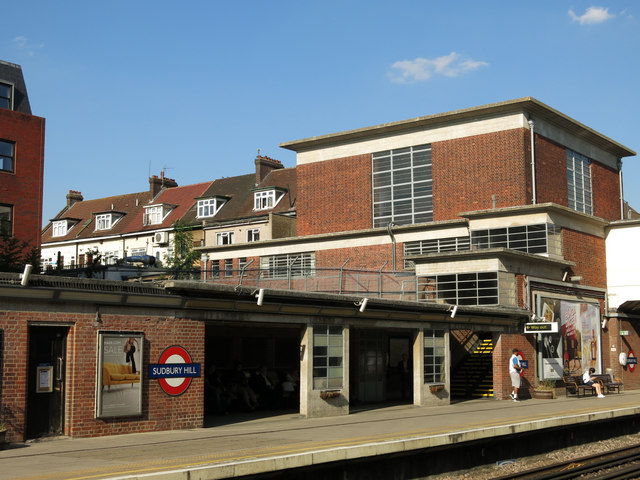 Sudbury Hill tube station - eastbound platform and entrance building (rear)