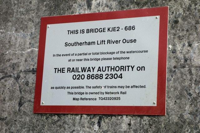 Safety Notice on Southerham Railway Bridge