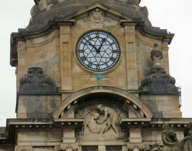 Manchester Royal Infirmary: Date stone and clock