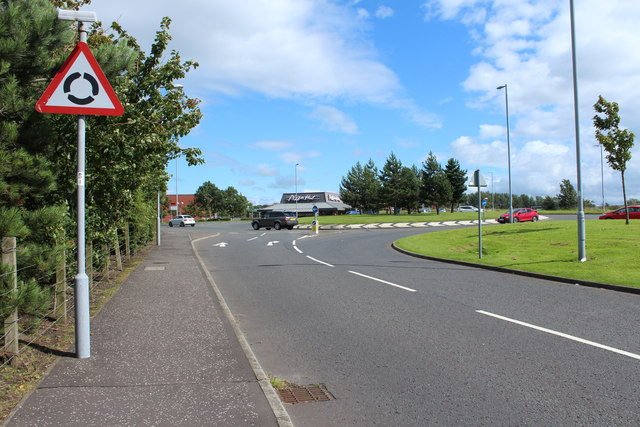 Approaching Roundabout on the B743