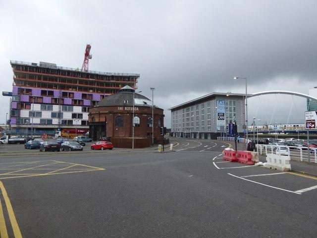 Finnieston Quay, La Rotunda and Hilton hotel