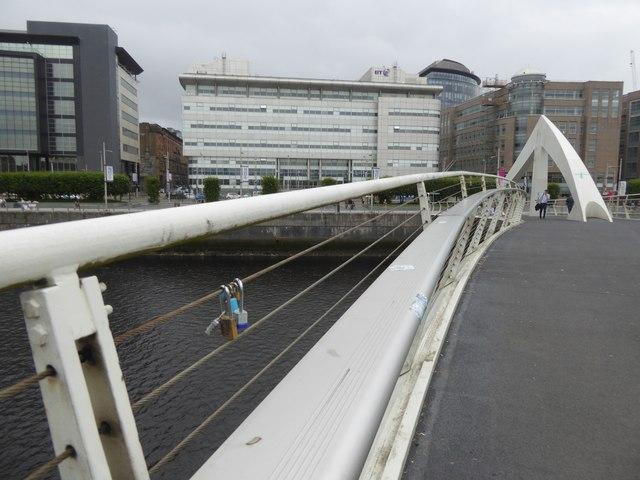Love padlocks on  Tradeston Bridge