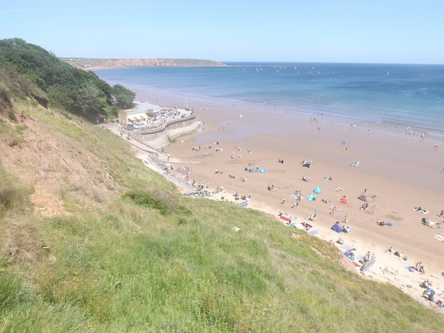 The beach at Filey from the cliffs above
