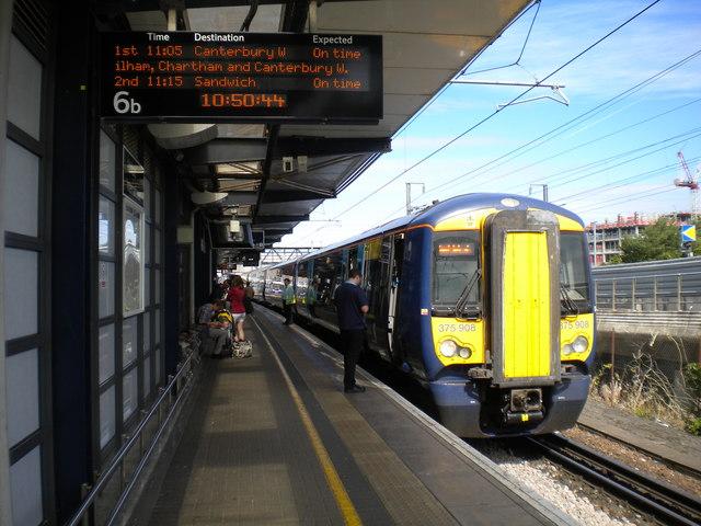 Train at Ashford International station