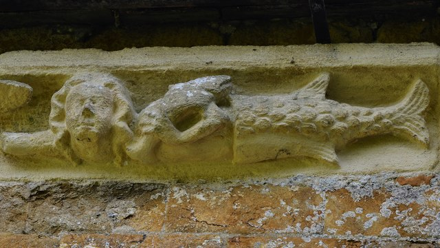 Hanwell, St. Peter's Church: North frieze, merman with fish over his shoulder
