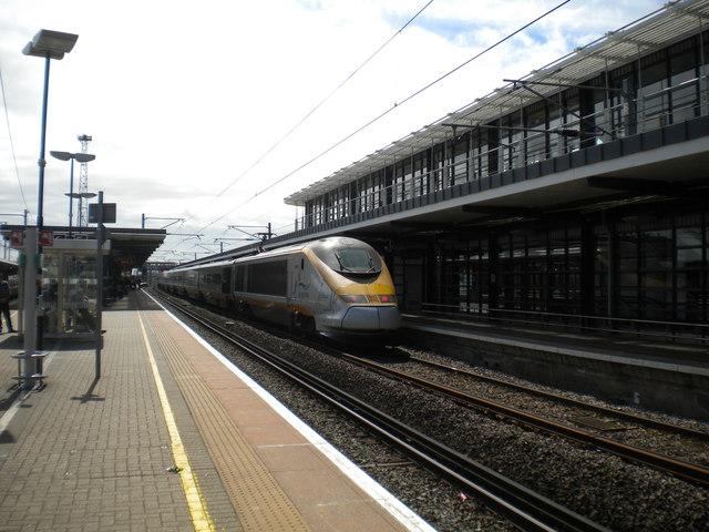 International train leaving Ashford International station