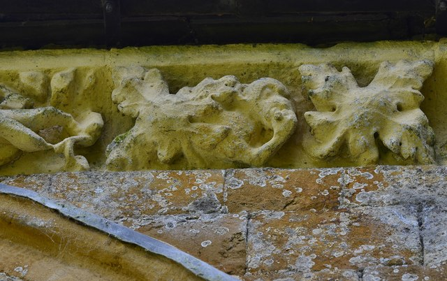 Hanwell, St. Peter's Church: North frieze, ca. 1340: Monkey emerging from foliage