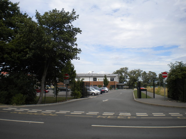 Vehicular exit from Marsh Academy campus, New Romney