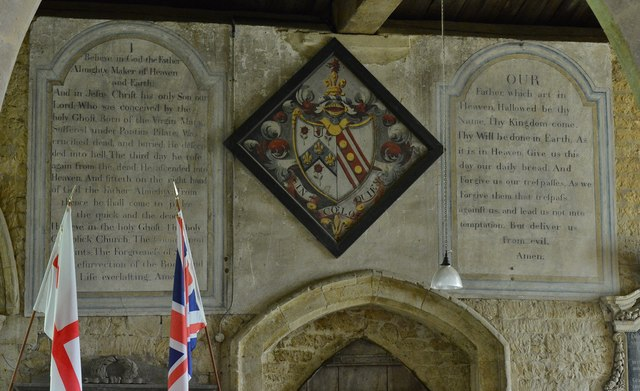 Hanwell, St. Peter's Church: Hatchment of Sir William Cope