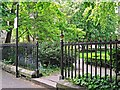 NY4055 : Railings, Portland Square Gardens by Rose and Trev Clough
