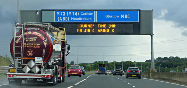 Gantry sign on the M80 motorway