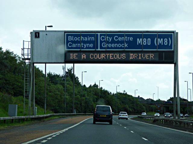 Gantry sign on the M80 motorway