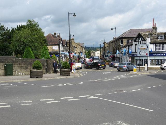 Looking across Barras Lane and along Kirkgate in Otley