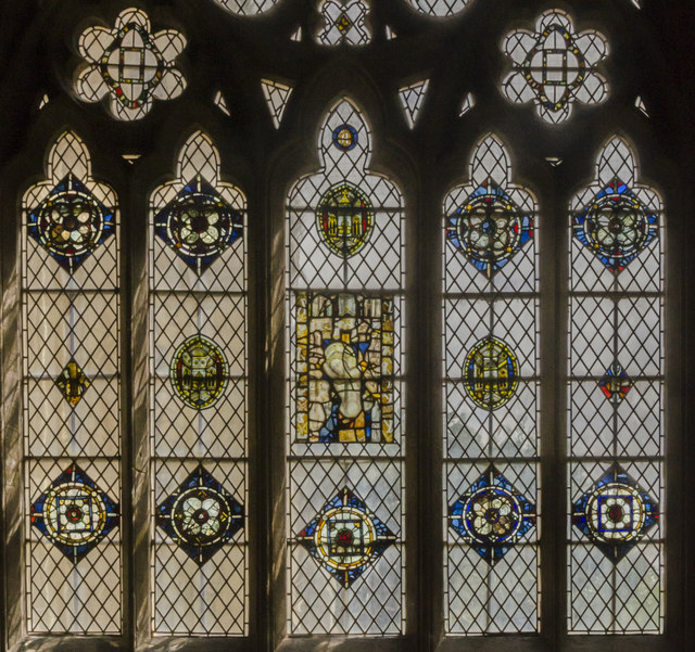 St Gabriel chapel window detail, Exeter Cathedral