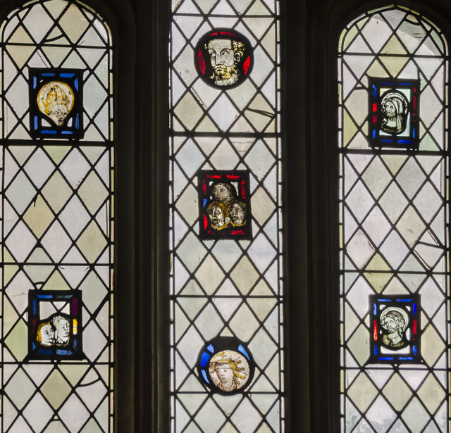 Medieval stained glass detail, Exeter Cathedral
