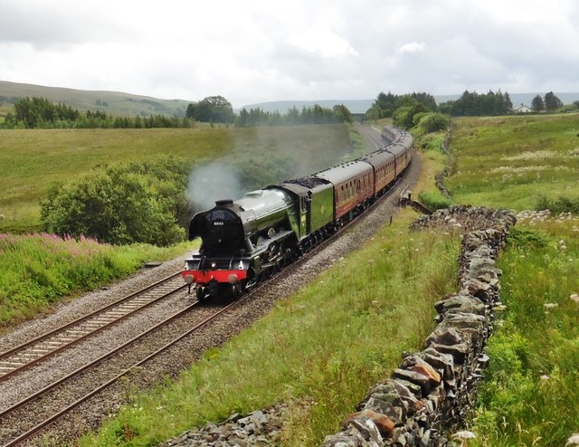 Flying Scotsman passes Ais Gill with a special train for Carlisle