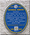 ST1600 : School Arch blue plaque, Honiton by Jaggery