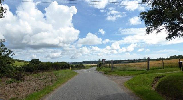 Road junction near Milton of Drum