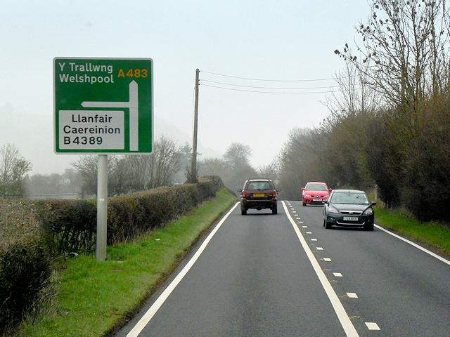 Road Junction Ahead, A483 near Llanmerewig
