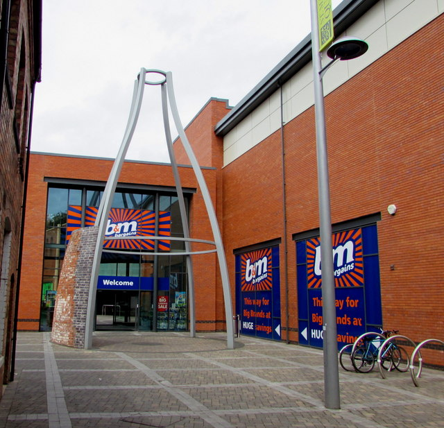 Distinctive entrance to B&M Bargains, Worcester