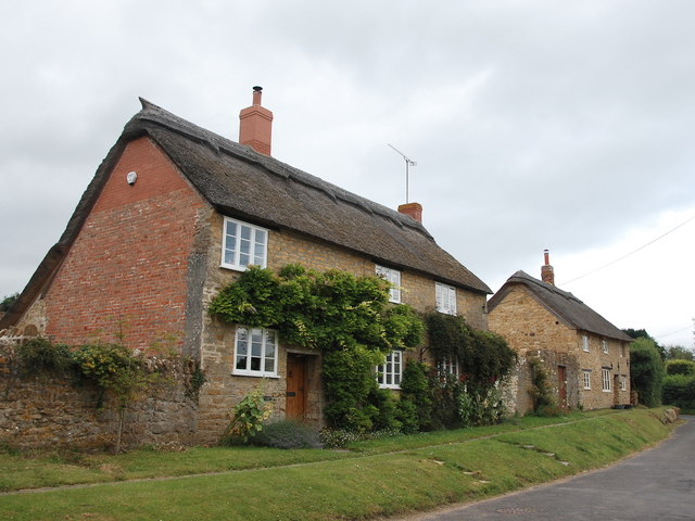Thatched cottages, Church Street, Lopen