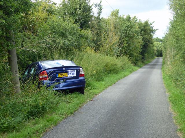 Crashed car, Honeypot Lane