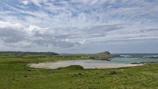 View over Traigh an Tobair Fhuair to Dun Ghallain fort