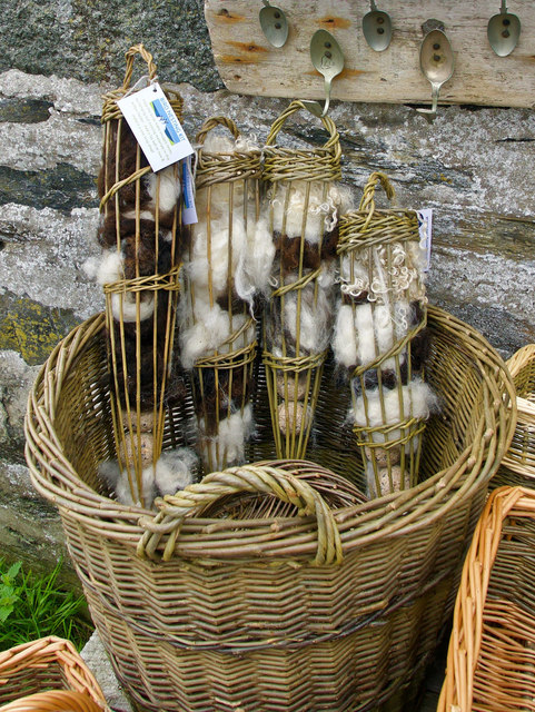 Local wool products for sale in the Old Waiting Room Gallery, Colonsay