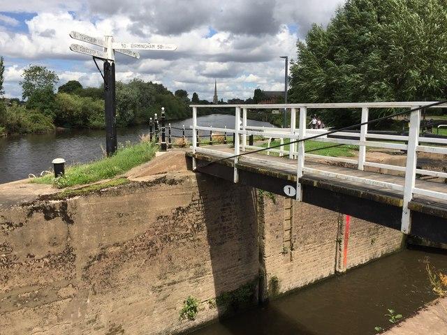 Swing bridge and signpost