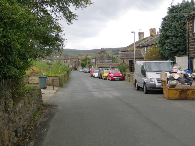Shaw Lane in Oxenhope with Haworth Moor in the background