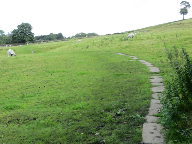 Paved field path from West Lane to Haworth Parsonage and Church