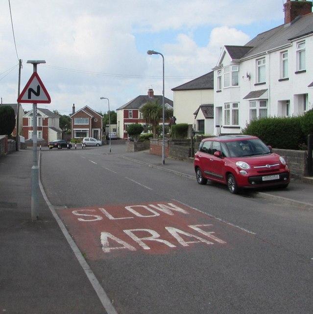 Warning sign - bends ahead, Church Road, Rumney, Cardiff