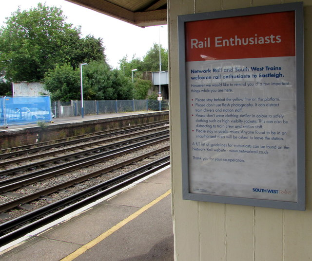Rail Enthusiasts notice on Eastleigh station
