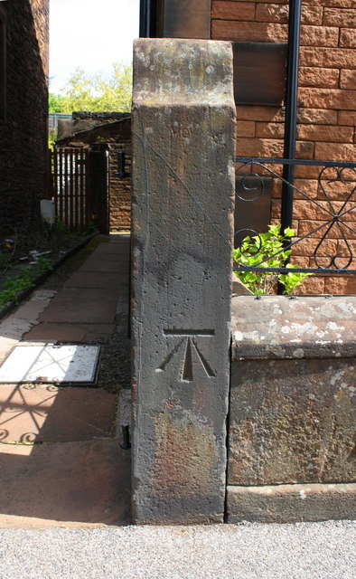 Benchmark on gatepost at #5 Arthur Terrace