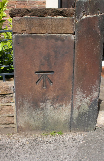 Benchmark on post in wall outside #7 Arthur Street