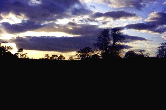 Sunset sky, Capernwray Hall park