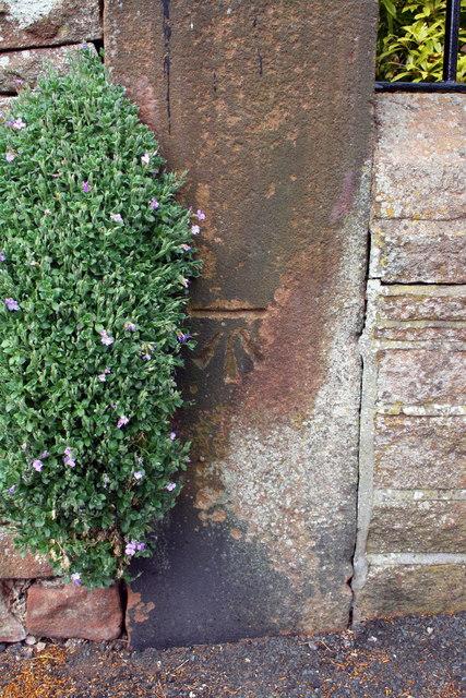Benchmark on wall pier outside 'High Fold', Graham Street