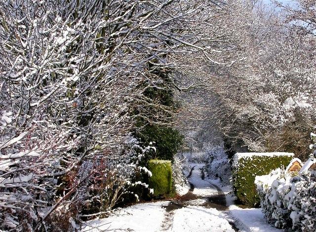 Churchland Lane in snow