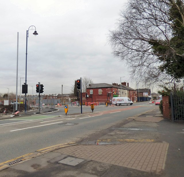 New traffic lights on Hyde Road