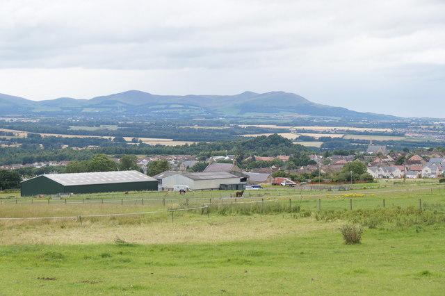 View over Gorebridge to the Pentlands