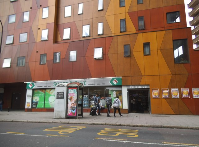 Brown and yellow block on New Kent Road