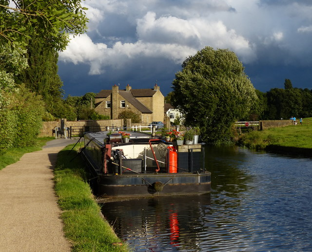 Boat moored along the Leeds and Liverpool Canal