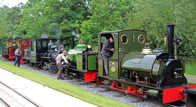 Statfold Barn Railway - five of the thirteen lined up