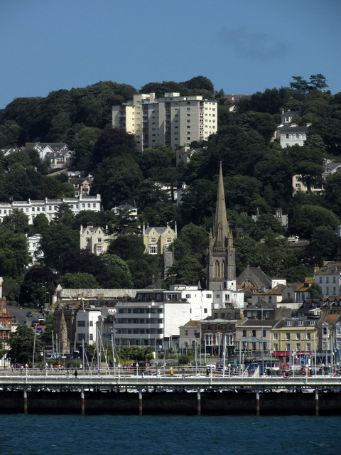 Torquay: harbourside buildings and church spire