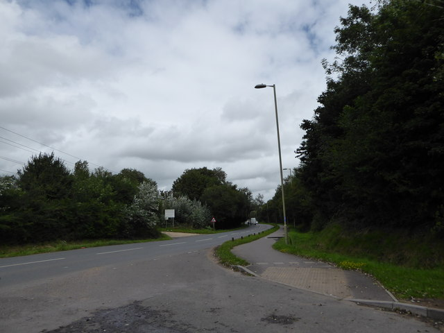 Junction of the access road for the slipway car park with Harts Farm Way