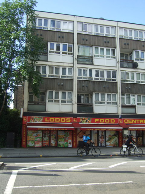 Food centre and flats over on Old Street, London